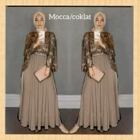 baju pesta muslim wanita dress hijab maxi abaya brukat gamis mocca