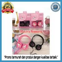 Headset Headphone Bando Lucu Motif Hello Kitty/Doraemon untuk Anak2