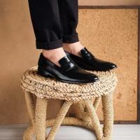 Winshor Grande Black - Sepatu Pantofel Pria Premium - Hitam