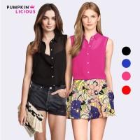 Pumpkin Sleeveless Chiffon Blouse Blus baju atasan wanita tanpa lengan