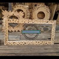 Frame /Pigura Jati Persegi Panjang - Cermin Tembok Ukir Mentahan
