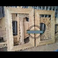 Frame Kayu Ukir - Pigura Cermin Tembok Jati Mentahan
