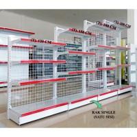 Rak Gondola Minimarket Single Tinggi 150 cm 4 Level . Rak Display Toko