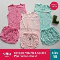 Setelan Baju Kutung & Celana Pop Polos Bayi New Born 3 Pcs Little Q