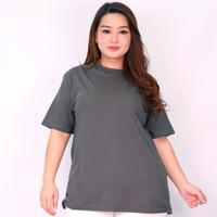 Kaos Katun Bambu Unisex XL-3XL Atasan big size kaos wanita jumbo Anya - Abu-abu, XL