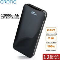 GROTIC Powerbank 12000mAh 2.1A Fast Charge Dual USB LED Power Display