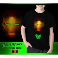 Kaos Anak Laki-Laki Iron Man New Glow in the dark Baju Atasan Tanggung