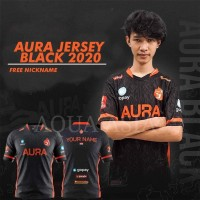 JERSEY GAME AURA 2020 BLACK BAJU AURA FREE NICKNAME KAOS GAME PUBG ML