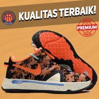 Sepatu Basket Sneakers Nike PG 4 Digi Camo Orange White Pria Wanita