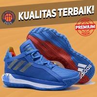 Sepatu Basket Sneakers Adidas Dame Lillard 6 Sonic Blue Red White
