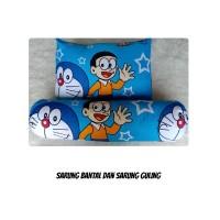 BBYS Set Sarung Bantal dan Sarung Guling Karakter Doraemon Hellokitty