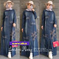Gamis Jeans / Baju Muslim / Drees Wanita Model Terbaru/ London - XL