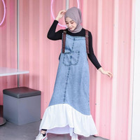 Zenna Long Overall Wanita Muslim Jumpsuit Dress Panjang - snow wash