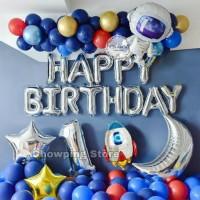 Paket Dekorasi Balon Ulang Tahun Tema Luar Angkasa Roket Astronot 01