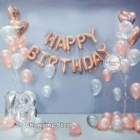 Paket Dekorasi Balon Ulang Tahun / Happy Birthday Tema Rose Gold 04