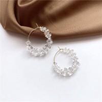 Anting Kristal Bening Crystal Clear Hoops Earrings