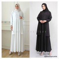 Baju Gamis Muslim Wanita Busui Terbaru / Cardi Dress Hitam Putih Polos