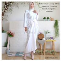 Baju Gamis Kaftan Modern Putih Terbaru / Dress Muslim Wanita Ikat