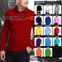 Kaos kerah Lengan Panjang Pria Polo shirt