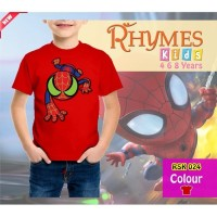 Kaos Anak Laki-Laki Spiderman Merah New Glow in the dark Baju Atasan