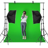 Background Stand 2x3m - telescopic bar - with kain green screen