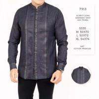 Kemeja shanghai pria cowok biru navy motif batik M-XL murah baju koko