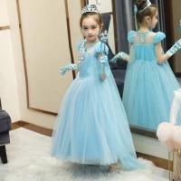 Baju Dress Pesta Ulang Tahun Anak Frozen 2 Princess Elsa Elegant H006