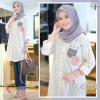 Thalita Tunik/Baju Atasan Muslim Wanita Kemeja Katun Motif/4 Warna