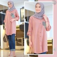 Thalita Tunik Dusty/Baju Atasan Muslim Wanita Kemeja Katun Motif