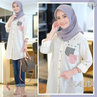 Thalita Tunik/Baju Atasan Muslim Wanita Kemeja Katun Motif/4 Warna - Putih