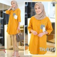Thalita Tunik Mustard/Baju Atasan Muslim Wanita Kemeja Katun Motif