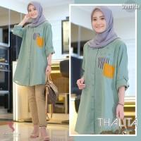 Thalita Tunik Dusty/Baju Atasan Muslim Wanita Kemeja Katun Motif - Mint