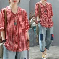 Vneck Adeola red [Baju Atasan Wanita 0117] TGF