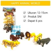 Happy Animal World Safari | Mainan Hewan Liar Karet | Mainan binatang