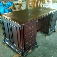 meja kantor / meja direktur kayu jati warna salak