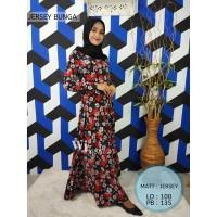 Gamis Jersey Premium Motif Bunga Besar / Gamis Syari