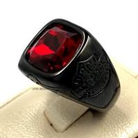 Cincin Pria Titanium Merah Hitam Batu Ruby Siam Onyx Model Harley