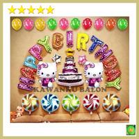 Hello Kitty Set Dekorasi Colourfull/ Ulang Tahun Anak/ Balon Foil/