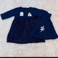 Gamis Bayi perempuan 0 1 2 3 4 5 6 bulan baju muslim anak navy akikah