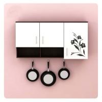 Lemari dapur kitchen set 3 pintu putih Dahlia warna gelap BANDUNG
