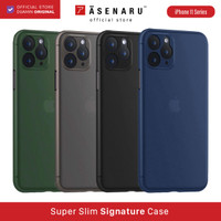 ASENARU iPhone 11/11 Pro/11 Pro Max Casing - Super Slim Signature Case - Biru, iPhone 11 Pro
