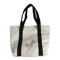 Tote Bag Kanvas Illustration Woman / Tas Jinjing Wanita Kanvas - Flower