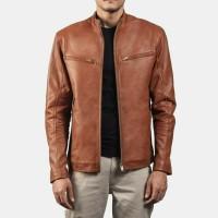 jaket kulit pria warna coklat tua asli domba garut jaket kasual