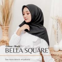Jilbab Harian Polos - Black  Hijab Segi Empat Hitam   Bella Square