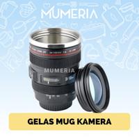 Gelas Mug Cup Kopi Susu Unik Tumbler Lensa Kamera DSLR Stainless Steel