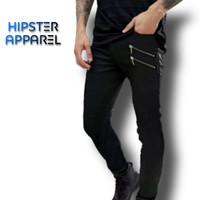 HISPTER Skinny fit denim jeans super black and zip