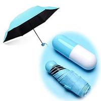 Payung Kapsul Mini Lipat Anti Hujan / UV / Angin 3 Micro K401 - Biru Muda