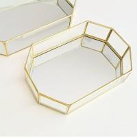Nordic Gold Geometric Glass Storage Tray Baki Emas Kaca Jewelry - Small