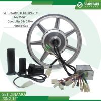 Paket set dinamo bldc ring14 sepeda listrik 24v250w motor bldc