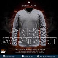 Stylish Armor V Neck LS Sweatshirt , V Neck lengan panjang